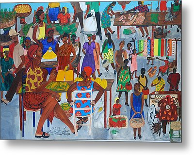 Marketplace Jacmel Haiti Metal Print by Nicole Jean-Louis