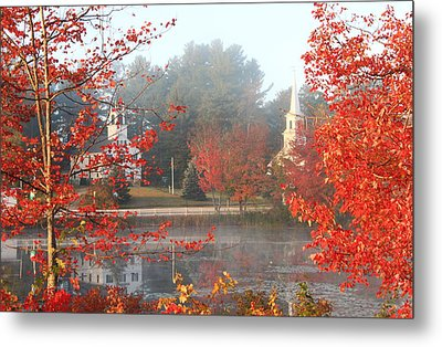 Marlow New Hampshire Early Autumn Fog Metal Print