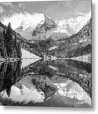 Maroon Bells - Aspen Colorado - Monochrome - American Southwest 1x1 Metal Print by Gregory Ballos