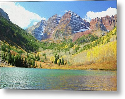 Metal Print featuring the photograph The Maroon Bells Reimagined 2 by Eric Glaser