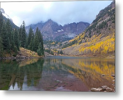 Maroon Bells In Autumn - Snow Mass, Co Metal Print by Nathaniel Carter