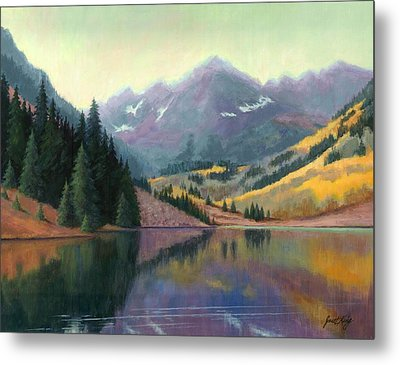 Maroon Bells In October Metal Print by Janet King
