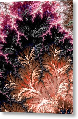 Maroon, Black And Orange Fractal Design Metal Print