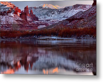 Metal Print featuring the photograph Maroon Fisher Towers by Adam Jewell