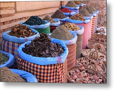 Metal Print featuring the photograph Marrakech Spice Market by Ramona Johnston