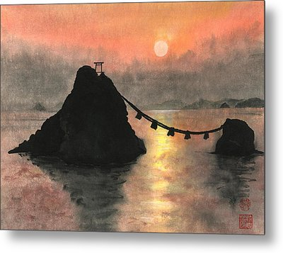 Married Couple Rocks At Sunset Metal Print