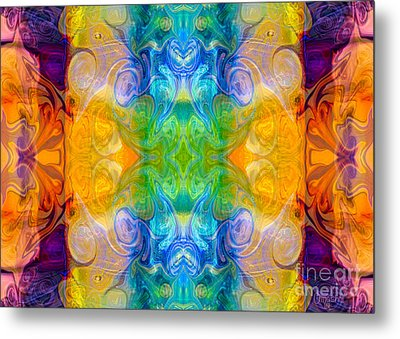 Marrying A Rainbow Abstract Bliss Art By Omashte Metal Print