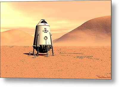 Metal Print featuring the digital art Mars Lander Ares First Steps by David Robinson