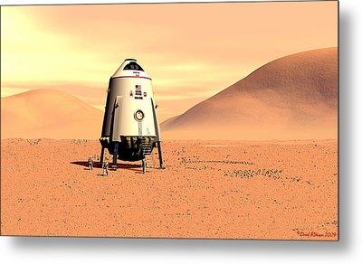 Mars Lander Ares First Steps Metal Print by David Robinson