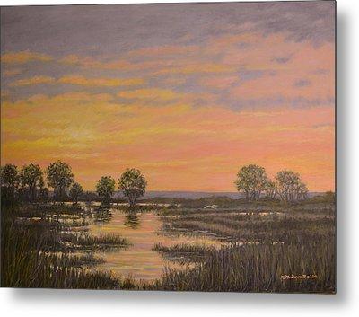 Marsh At Sunset Metal Print by Kathleen McDermott
