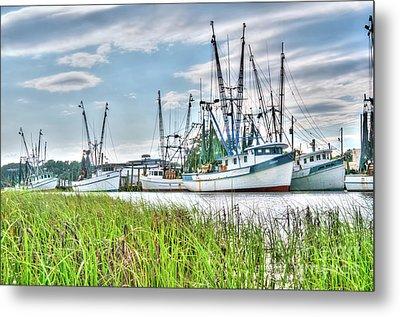 Marsh View Shrimp Boats Metal Print