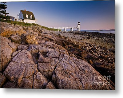 Marshal Point Light Sunset Metal Print