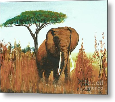 Metal Print featuring the painting Marsha's Elephant by Donna Dixon