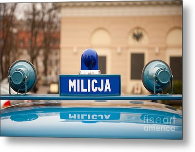 Martial Law Militia Blue Car Cherry Metal Print by Arletta Cwalina