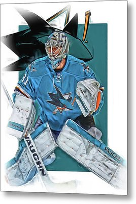 Martin Jones San Jose Sharks Oil Art Metal Print