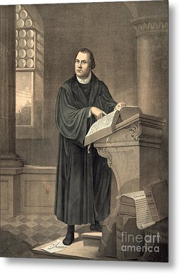 Martin Luther In His Study Metal Print