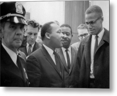 Martin Luther King Jnr And Malcolm X Metal Print by American School