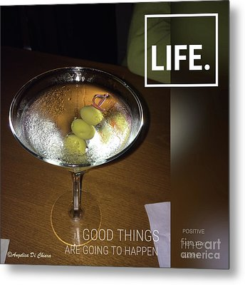 Martini - Quote Metal Print
