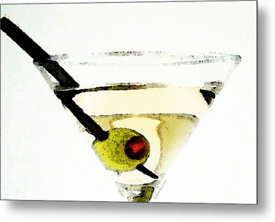 Martini With Green Olive Metal Print