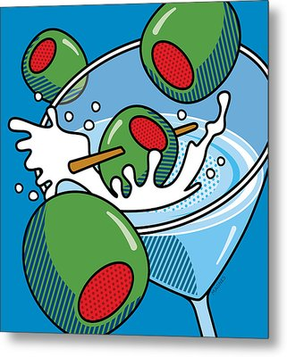 Martini With Olives On Blue Metal Print