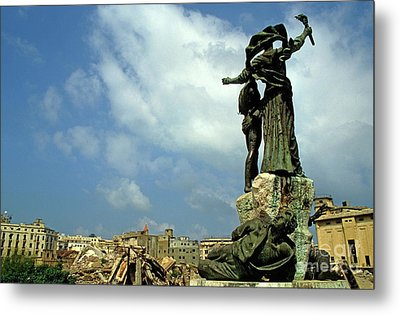Martyr's Statues In Beirut Metal Print by Sami Sarkis