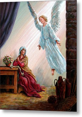 Mary And Angel Metal Print by John Lautermilch