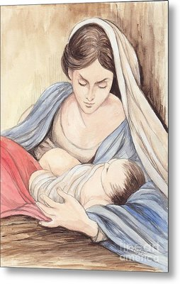 Mary And Child Metal Print by Morgan Fitzsimons