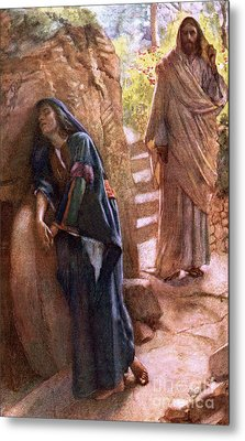Mary Magdalene At The Sepulchre Metal Print by Harold Copping