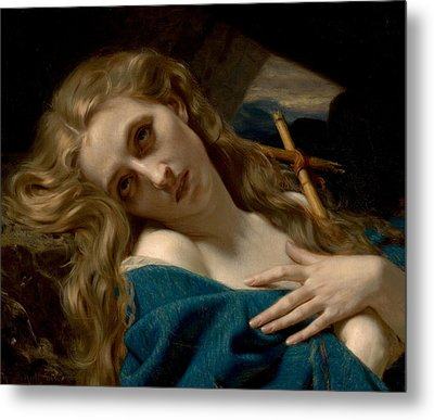 Mary Magdalene In The Cave Metal Print by Hugues Merle