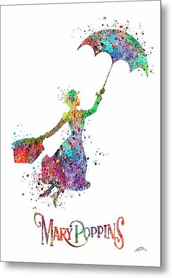 Mary Poppins Watercolor Print Mary Poppins Watercolor Print Llustrations Kid's Room Wall Poster Gicl Metal Print