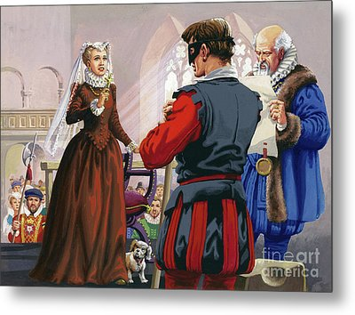 Mary Queen Of Scots About To Be Beheaded At Fotheringay Castle Metal Print