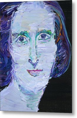 Metal Print featuring the painting Mary Shelley - Oil Portrait by Fabrizio Cassetta