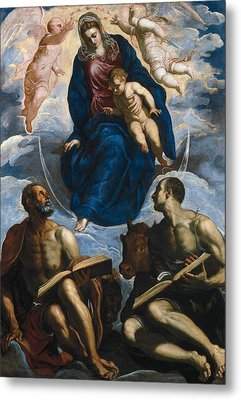 Mary With The Child, Venerated By St. Marc And St. Luke Metal Print by Tintoretto