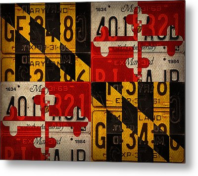 Maryland State Flag Recycled Vintage License Plate Art Metal Print by Design Turnpike