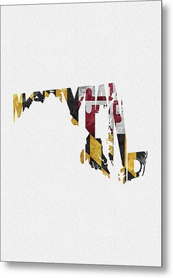 Maryland Typographic Map Flag Metal Print