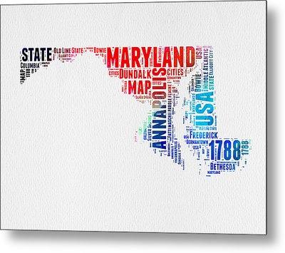 Maryland Watercolor Word Cloud  Metal Print