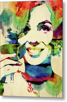 Marilyn And Her Drink Metal Print by Mihaela Pater
