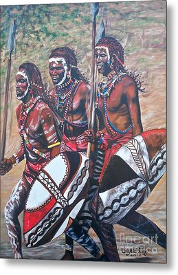 Metal Print featuring the painting Masaai Warriors by Sigrid Tune