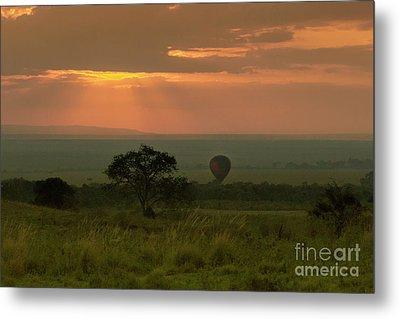 Metal Print featuring the photograph Masai Mara Balloon Sunrise by Karen Lewis