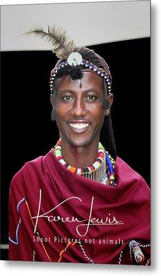 Metal Print featuring the photograph Masai Warrior by Karen Lewis