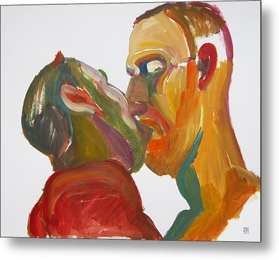 Metal Print featuring the painting Masculine Kiss by Shungaboy X