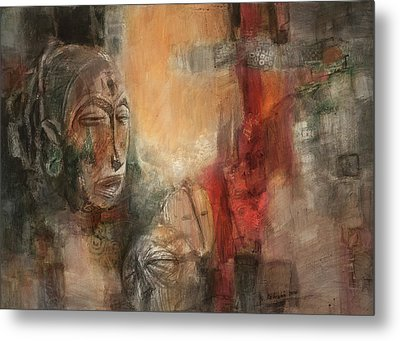 Symbol Mask Painting - 08 Metal Print by Behzad Sohrabi