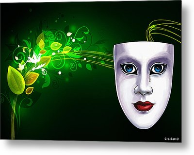 Mask Blue Eyes On Green Vines Metal Print