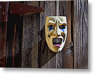 Mask On Barn Door Metal Print by Garry Gay