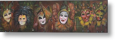 Metal Print featuring the painting Mask Row by Nik Helbig