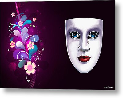 Mask With Blue Eyes Floral Design Metal Print