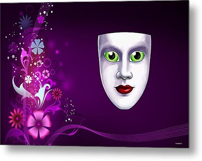 Metal Print featuring the photograph Mask With Green Eyes On Pink Floral Background by Gary Crockett