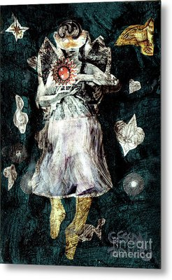 Masked Angel Holding The Sun Metal Print by Genevieve Esson