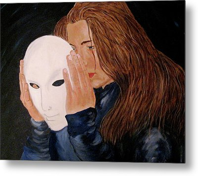 Metal Print featuring the painting Masked by Rebecca Wood