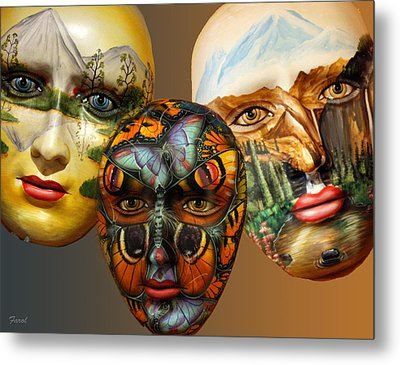Masks On The Wall Metal Print